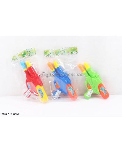Водный пистолет 81001  с насосом,3 цвета,в пакете 23см