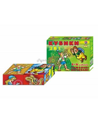 """Кубики """"Любимые персонажи 2 в 1"""" (12 куб.), арт. 0892, ТехноК"""