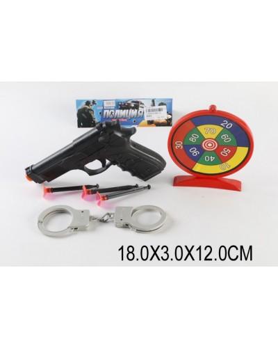 Полицейский набор 688-10(1536624)пистолет, наручники, присоски, мишень, в пакете 18*3*12см