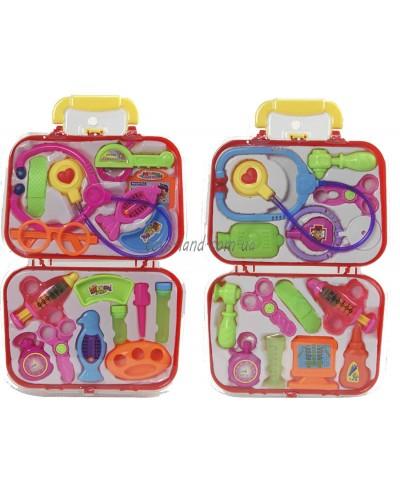 Доктор 616 2вида,стетоскоп, монитор, молоток, ножн, ванночки, бутылочки,в чемодан.26*42см