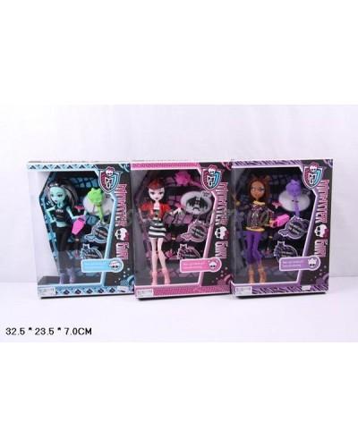 """Кукла """"Monster High"""" YF1001 3вида, шарнир,расческа,зонт,аксесс,в кор.32,5*23,5*7см"""