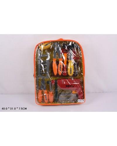 Набор инструментов 2093  пила, плоскогубцы, отвертка, молоток, в рюкзаке 40*31*7,5см