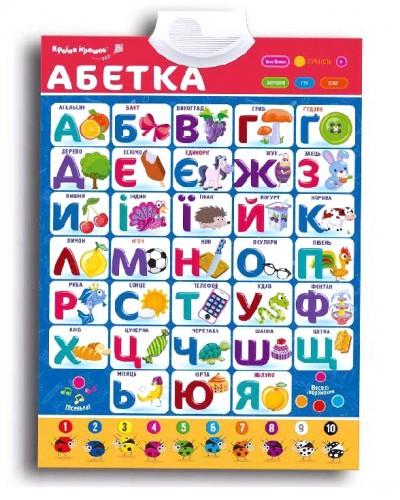 "Плакат обуч. ""Абетка"" KI-7032 укр. плакат, батар., в кор. 49*23*4см"