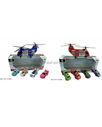 Игровой набор AF1018A/B вертолет+машинки,2 вида,в коробке 30*9*10см