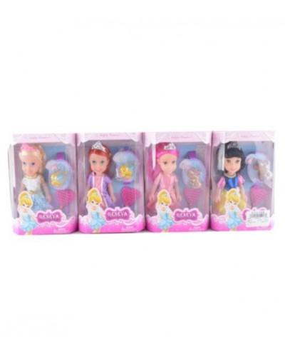 """Кукла """"Принцесса Диснея"""" 0658 4 вид,расческа,питомец-брелока,в кор."""