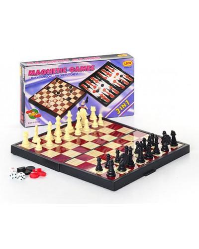 Шахматы магнит 9831 3 в 1, в коробке 25*13см