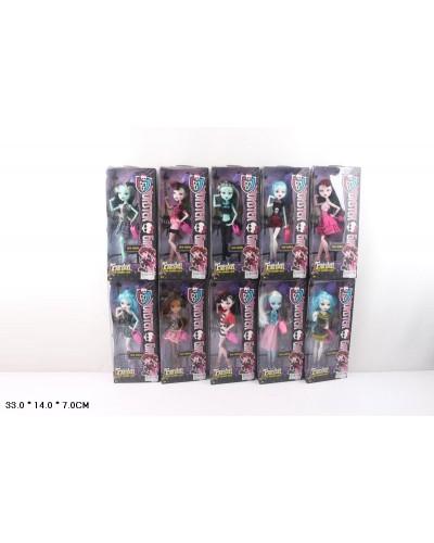 """Кукла """"Monster High"""" 10010 10 видов, шарнир, с аксесс, в кор.14*7*33см"""