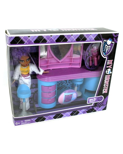 """Кукла """"Monster High"""" 63016 2 вида, трюмо, стульчик, расческа, в кор.33*9*28,5см"""