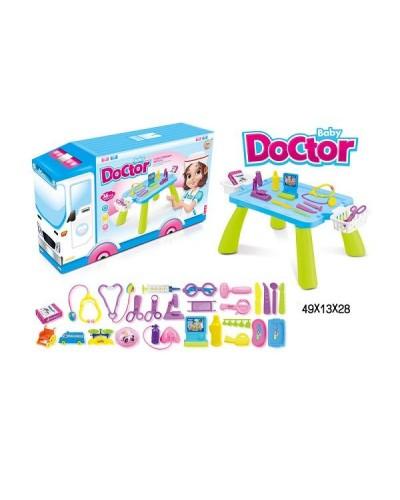 """Набор """"Доктор"""" A409 стетостоп, шприц, ножн, очки, весы, щипцы, молоточек…столик, в кор.49*13*28см"""