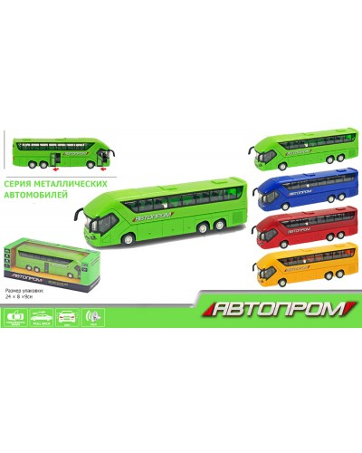 """Автобус металл 7779 """"АВТОПРОМ"""" 4 цвета, батар., свет, звук, откр.двери в коробке 24*8,5*8см"""
