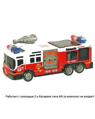 Пожарная машина батар. SD-012D 3Dсвет, звук, под слюдой 30*13*16см