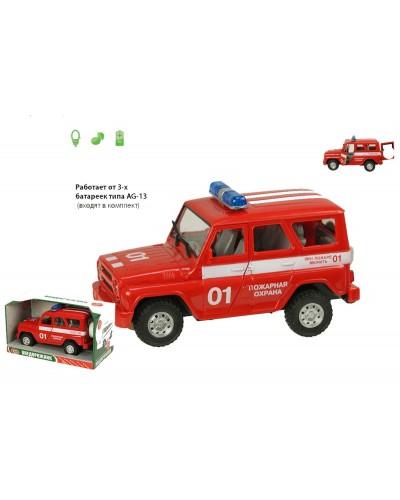 "Машина батар 9076-E ""Пожарная охрана"", звук, свет, в коробке 21*11*11см"
