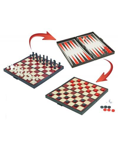 "Шахматы магнит. K1114, ""3в1"", шашки, нарды, в коробке 25*13см"