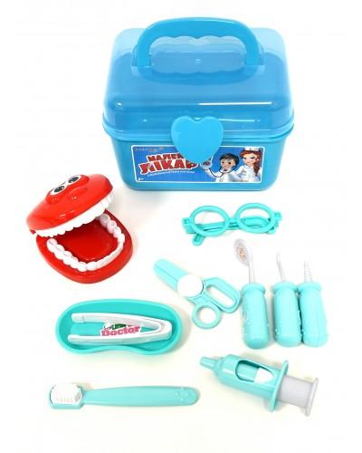 """Доктор """"Стоматолог"""" KI-6016A/8016A 10ин-тов: челюсть, шприц, зеркало, пинцет, зонд, очки… в чем.22*"""