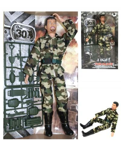 Военный набор A255B солдат 30см, тело-пластик, руки-ноги-шарнир, +аксес, в кор 19,5*5,5*33с