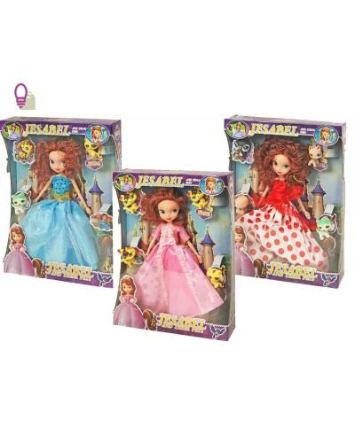 "Кукла ""Sofia"" 6012 3 вида шарнир, в бал платьях свет корона, зверюшк, в кор. 30*7*39см"