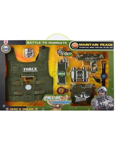 Военный набор 161F каска, рация, компас, бинокль, фляга…., в кор.