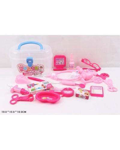 Доктор 8401D-1 стетоскоп, шприц, ножницы, очки, скальпель, в чемодане 19*13*10см
