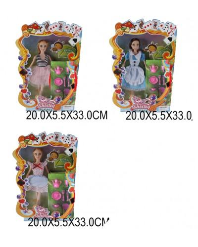 """Кукла """"Алиса в стране чудес"""" 66023/24 4 вид, посуда: кувшин, тар, чаш..кор 20*5,5*33см"""
