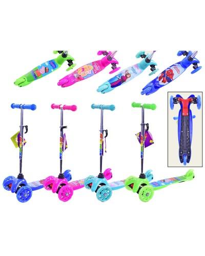 Самокат SC17062 4 вида, Frozen, Barbie, Hot Wheels, 3 колеса PU свет