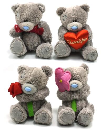 Мишки  MI0013t13, 11см 4 вида: цветочек, шарфик, сердечко, в пакете