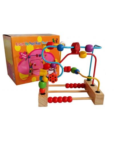 Деревян.серпантинка YZW-0324 передвинь шарики по спиральке, в коробке