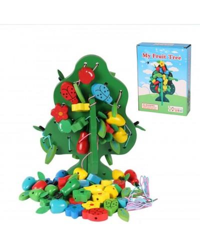 Деревян.дерево XY-6226 пришнуровать фрукты, листики, жучки, в коробке