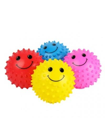 """Мяч 2"""" ежик BT-PB-0068 смайлы 25г микс цветов 3шт. в сетке ш.к./600/"""