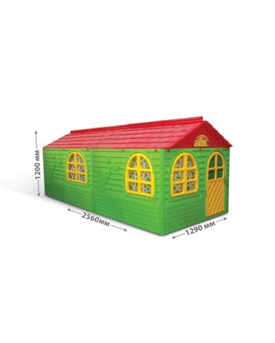 Детский игровой домик со шторками (большой) Doloni 02550/23 (Цвет Зелено-красный)