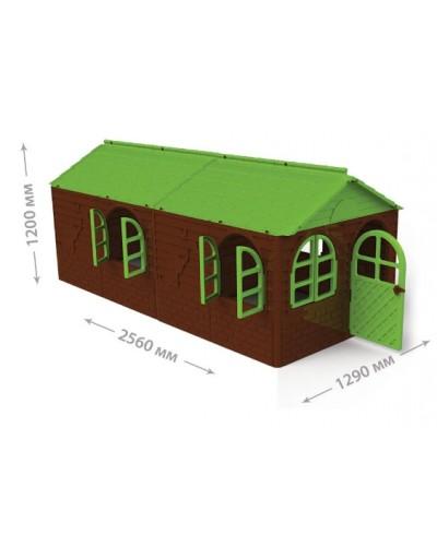 Детский игровой домик со шторками (большой) Doloni 02550/24 (Цвет Коричнево-зеленый)