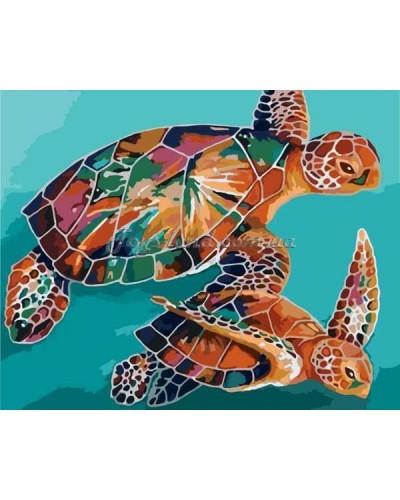 """Картина по номерам Животные и птицы """"Черепахи"""" 40х50 см, арт. 2455, Идейка"""