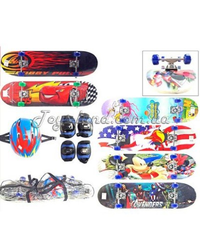 Скейт (колеса PVC), с защитой, арт. 005