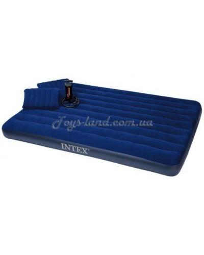 Кровать велюровая с 2 подушками (43х28х9см) и насосом, цвет синий, арт. 68765, Intex