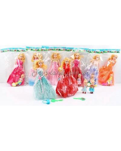 """Кукла типа """"Барби"""" 2102-5  8 видов,с маленькой куколкой,аксесс,в пакете 27см"""