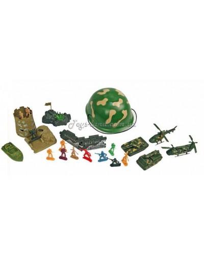 Военный набор (каска, солдатики, техника, оружие/ 20 см), арт. 076-3