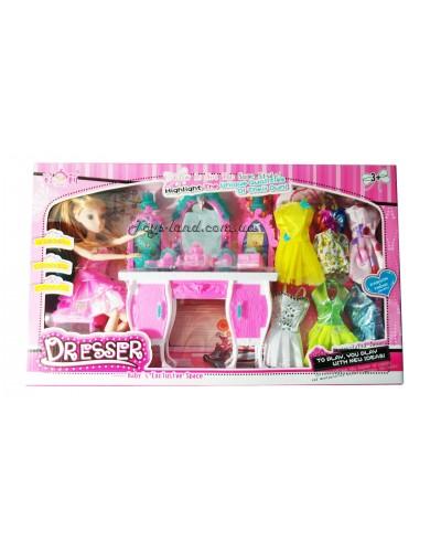"""Кукла типа """"Барби"""" 1301 с мебелью, аксес. и набором платьев, в кор. 49*8*29,5 см"""