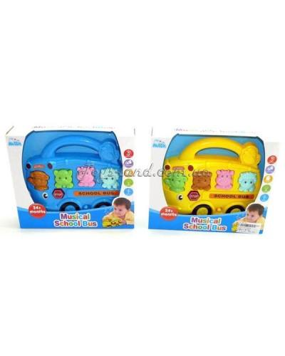 Музыкальный световой развивающий автобус (2 цвета/ на батарейках), арт. 1013 (1237715)