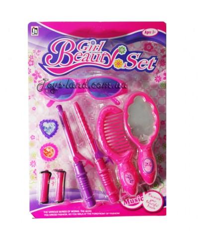 Аксессуары для девочек 0806-16/0806-17  2 вида,очки,шкатулка,плойка,расчёска,на планш. 19*2