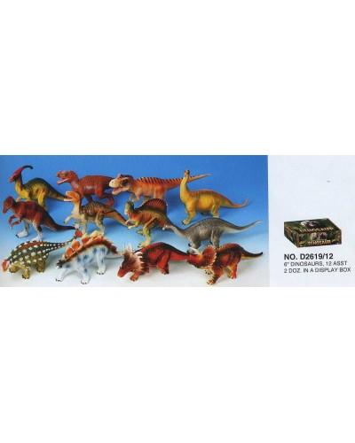 """Динозавр Гонконг D2619 резин. 6"""" 12в.24 шт.в кор.,ш.к"""