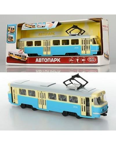 """Модель трамвай PLAY SMART 9708C """"Автопарк"""" инерц. откр. дв. свет,з в.кор.20*5,7*7,7"""