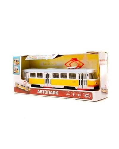 """Модель трамвай PLAY SMART 9708B """"Автопарк"""" инерц. откр.дв.свет, зв.кор.20*5,7*7,7"""