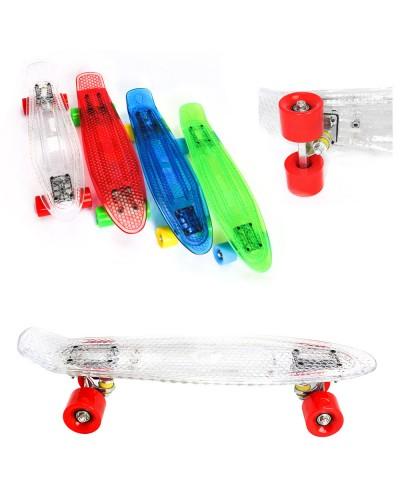 Скейт BT-YSB-0038 прозр. пластик.+ алюм. свет. PU колеса 56*14см