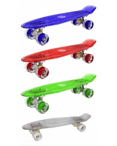 Скейт BT-YSB-0051 пластик.прозрачный, свет.PU колеса 56*15см 1,8 кг