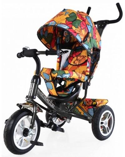 Велосипед трехколесный TILLY Trike T-351-7 ГРАФИТОВЫЙ с большими надувными колесами рус.музыка