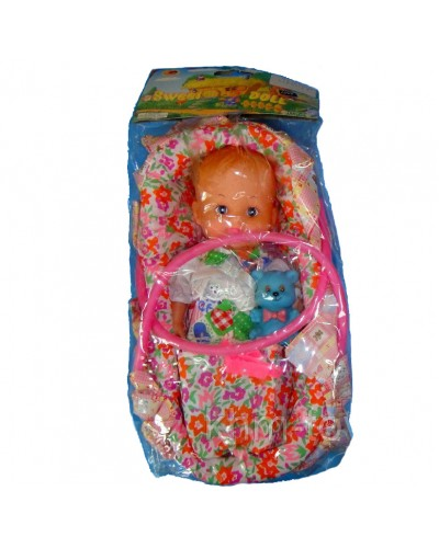 Кукла 23см 9078MBV в корзине с игрушкой 3в.кул
