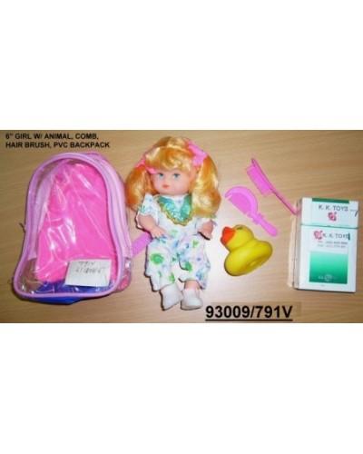 Кукла 18см 791V с уточкой и расческой 3в.в сумке /216/