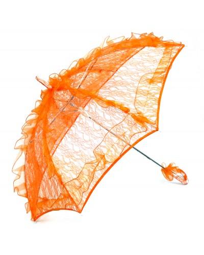 Зонт кружевной 7695-1*З, цвет белый/оранж, d46см