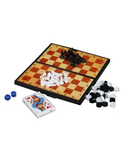 Набір 3 в 1+ шашки,шахи,нарди,гральні карти