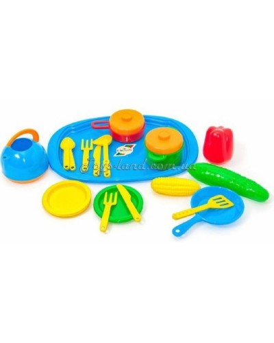 Набор посуды с подносом (22 пред./ цвет в ассортименте), арт. 990 в 2, Орион