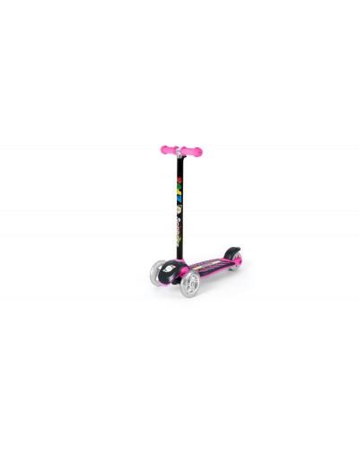 Самокат ярко-розовый (сияющие колеса, рулевая колонка большая) 555х290х755 мм